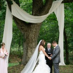 Simple and Natural Wedding Ceremony Drapery   Amanda Watson Photography   Sophisticated Countryside Wedding in Sparkling Blush