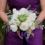 Deep Purple Bridesmaid Dress with White Bouquet | Kirsten Smith Photography | English Inspired Country Club Wedding in Purple and White