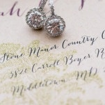 Classic Round Diamond Earrings | Kirsten Smith Photography | English Inspired Country Club Wedding in Purple and White
