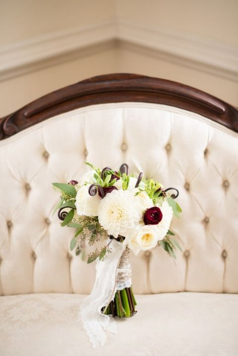 Ivory and Merlot Bridal Bouquet with Fiddlehead Ferns | Kirsten Smith Photography | English Inspired Country Club Wedding in Purple and White