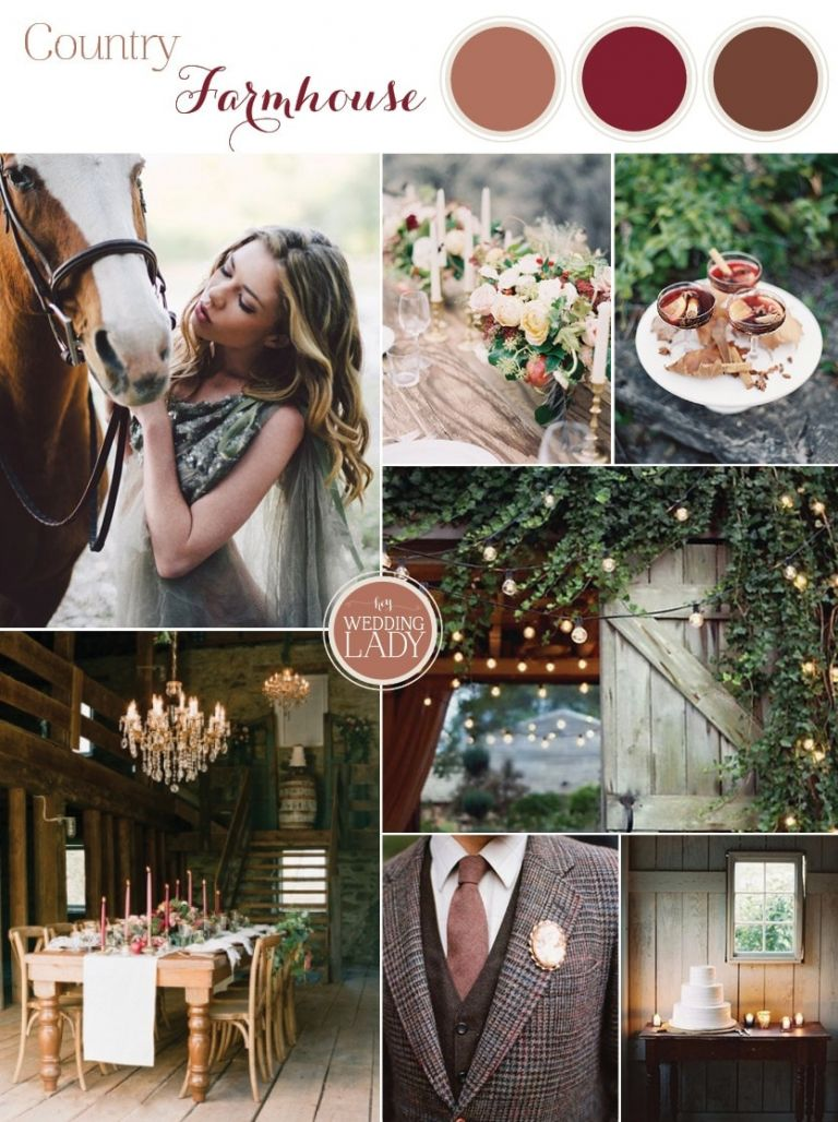 Upstate Country Farmhouse Wedding in the Fall with Tweed and Equestrian Details and a Barnwood and Pomegranate Palette