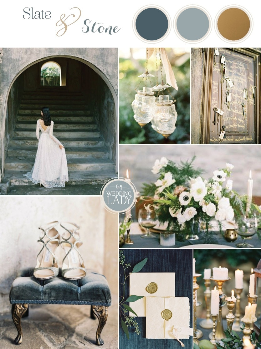 Raw and Refined Elegant Winter Wedding in Slate and Stone