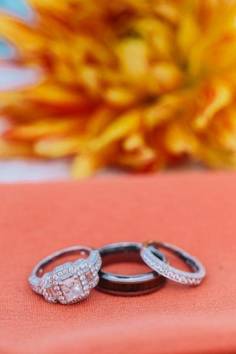 Three Stone Engagement Ring   Lisa Mallory Photography   Modern Ranch Wedding in Orange and Aqua