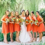 Chic Orange Bridesmaids with Taupe Shoes | Lisa Mallory Photography | Modern Ranch Wedding in Orange and Aqua