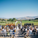Gorgeous Wine Country Wedding Ceremony | Lisa Mallory Photography | Modern Ranch Wedding in Orange and Aqua