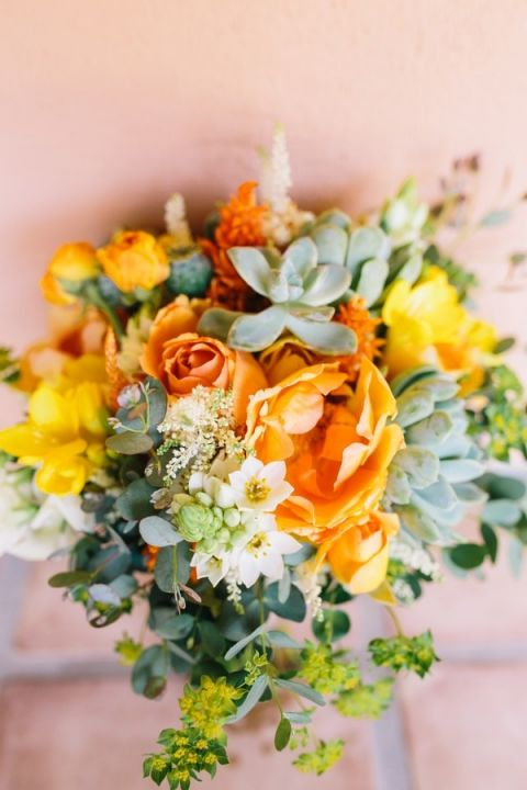 Earthy Orange and Green Bouquet with Succulents | Lisa Mallory Photography | Modern Ranch Wedding in Orange and Aqua