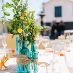 Rustic Yellow and Aqua Centerpieces | Lisa Mallory Photography | Modern Ranch Wedding in Orange and Aqua