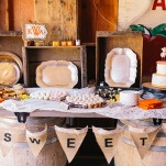 Decadent Dessert Display | Lisa Mallory Photography | Modern Ranch Wedding in Orange and Aqua