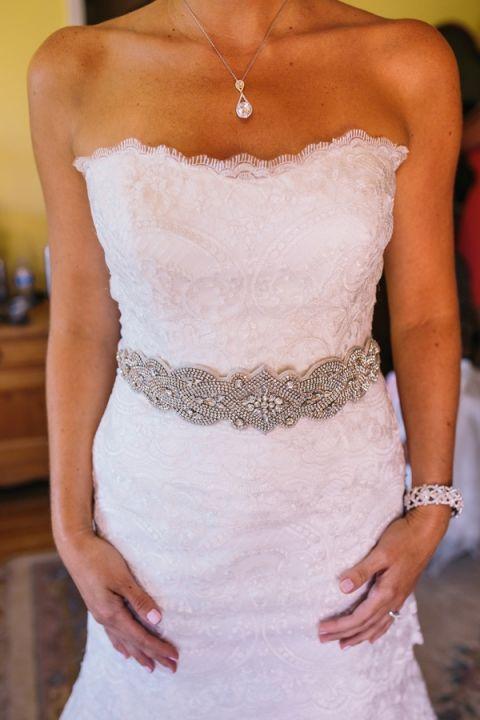 Modern Graphic Jeweled Bridal Sash   Lisa Mallory Photography   Modern Ranch Wedding in Orange and Aqua
