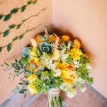 Natural Yellow and Orange Bouquet | Lisa Mallory Photography | Modern Ranch Wedding in Orange and Aqua