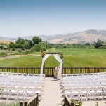 Ranch Ceremony with Views of Wine Country | Lisa Mallory Photography | Modern Ranch Wedding in Orange and Aqua