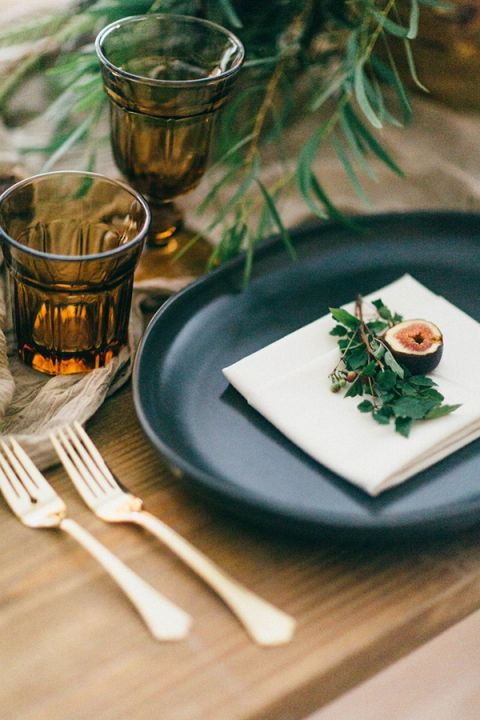 Dark and Moody Place Setting | To Wander and To Seek Photography | Wild Hunt Wedding Inspiration in Berry and Brown
