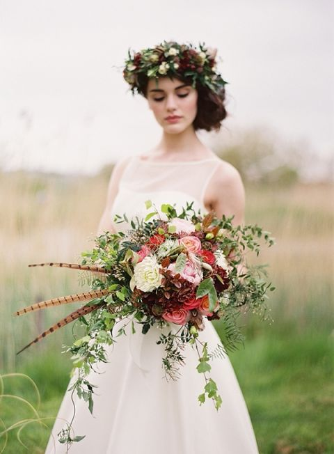 Pheasant Feather Bouquet | Paula OHara Photography | Wild Hunt Wedding Inspiration in Berry and Brown