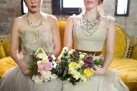 Distressed Vintage Bride and Bridesmaid Styling | Erin Johnson Photography | Iron and Velvet Romantic Steampunk Wedding