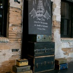 Custom Made Chalkboard Ceremony Backdrop Styled with Vintage Rentals   Erin Johnson Photography   Iron and Velvet Romantic Steampunk Wedding