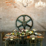 Crystal Chandeliers and Exposed Brick for a Steampunk Reception | Erin Johnson Photography | Iron and Velvet Romantic Steampunk Wedding