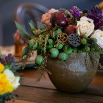 Fruit, Seed Pods, and Mini Gears Mixed with Florals | Erin Johnson Photography | Iron and Velvet Romantic Steampunk Wedding