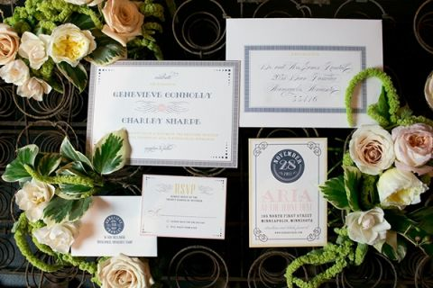 1920s Inspired Wedding Invitation Suite | Erin Johnson Photography | Iron and Velvet Romantic Steampunk Wedding
