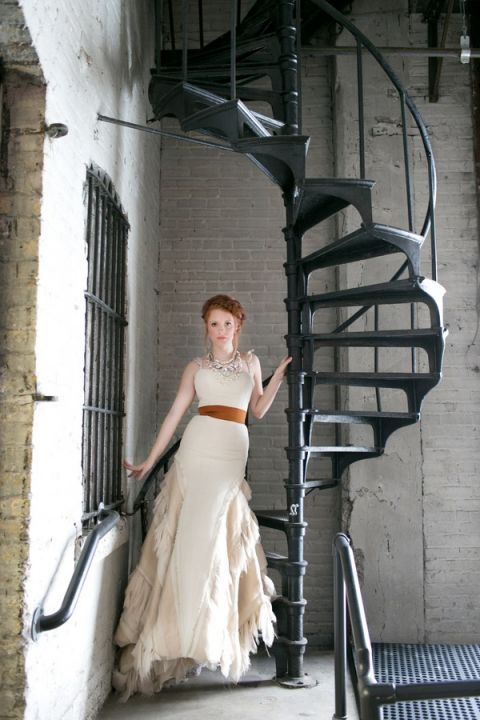 Bridal Portraits on a Wrought Iron Spiral Staircase | Erin Johnson Photography | Iron and Velvet Romantic Steampunk Wedding