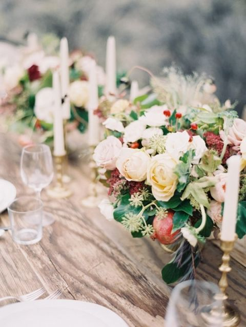 Rustic Fall Centerpieces with Pomegranates | Laura Gordon Photography | Upstate Country Farmhouse Wedding in the Fall