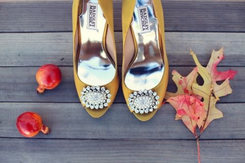 Gold Peep Toe Wedding Shoes | Lukas and Suzy | Bright and Colorful Classic Fall Wedding