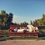 A Vintage Carved Bench for the Front Row   Lukas and Suzy   Bright and Colorful Classic Fall Wedding