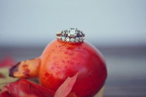 Gorgeous Pomegranate Engagement Ring Shot | Lukas and Suzy | Bright and Colorful Classic Fall Wedding