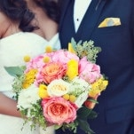 Classic Wedding Style with a Pink and Yellow Bouquet | Lukas and Suzy | Bright and Colorful Classic Fall Wedding