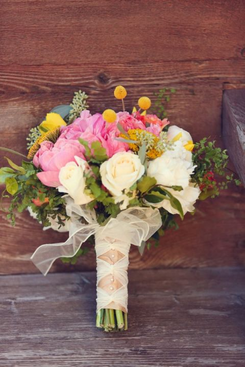 Pink and Yellow Peony Bouquet Tied with Ribbon | Lukas and Suzy | Bright and Colorful Classic Fall Wedding
