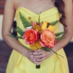 Yellow Bridesmaid Dress with a Fall Bouquet | Lukas and Suzy | Bright and Colorful Classic Fall Wedding
