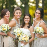 Bridesmaids in Sparkling Silver Dresses with Yellow Bouquets | Inspired Photography by Susie & Becky | Stylish Blue & Yellow Country Manor Wedding with a Superhero Theme!