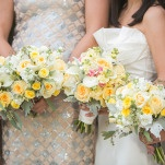 Mismatched Sparkling Silver Bridesmaids Dresses with Yellow Bouquets | Inspired Photography by Susie & Becky | Stylish Blue & Yellow Country Manor Wedding with a Superhero Theme!