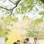 Ceremony Outdoors Under the Trees | Inspired Photography by Susie & Becky | Stylish Blue & Yellow Country Manor Wedding with a Superhero Theme!