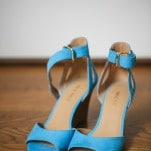 Bright Blue Michael Kors Wedding Shoes | Inspired Photography by Susie & Becky | Stylish Blue & Yellow Country Manor Wedding with a Superhero Theme!