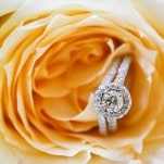 Round Halo Cut Engagement Ring in a Peach Rose | Inspired Photography by Susie & Becky | Stylish Blue & Yellow Country Manor Wedding with a Superhero Theme!