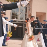 Marines Gave a Saber Salute as they left the Church | Bit of Ivory Photography | Traditional Autumn Wedding in Eggplant and Orange