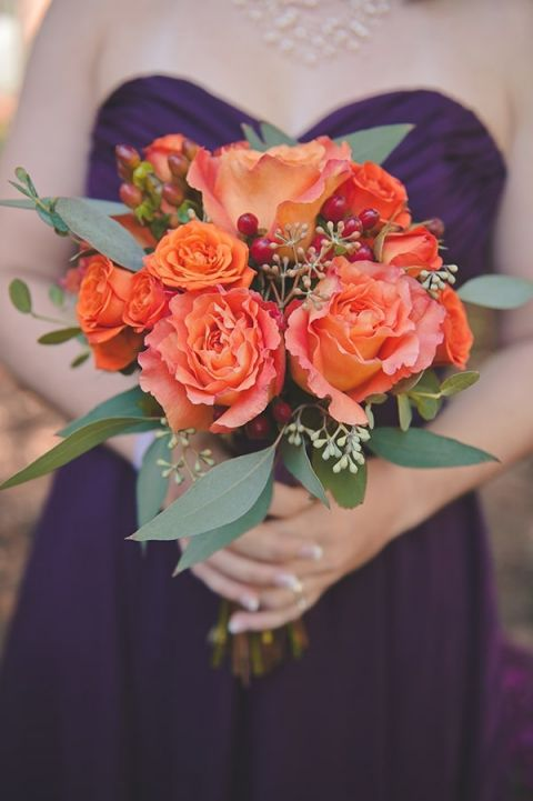 Bridesmaid Bouquet with Ruffled Orange Roses and Eucalyptus | Bit of Ivory Photography | Traditional Autumn Wedding in Eggplant and Orange