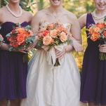 Bridesmaids in Purple with Deep Orange Bouquets | Bit of Ivory Photography | Traditional Autumn Wedding in Eggplant and Orange