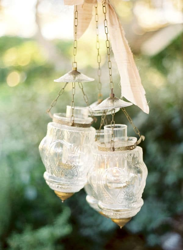 Glass and Gold Hanging Lanterns | Jose Villa Photography | Raw and Refined Elegant Winter Wedding in Slate and Stone