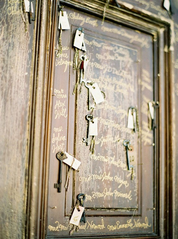 Gold Keys and Calligraphy Escort Cards | Jose Villa Photography | Raw and Refined Elegant Winter Wedding in Slate and Stone