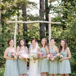 Bridesmaids in Mint J.Crew Dresses with Pastel Bouquets | J. Harper Photography | Elegant Farm Wedding in Pastels and Gold Glitter