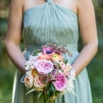 Pale Mint J.Crew Bridesmaid Dress with a Pastel Bouquet | J. Harper Photography | Elegant Farm Wedding in Pastels and Gold Glitter