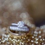 Classic Solitaire Engagement Ring | J. Harper Photography | Elegant Farm Wedding in Pastels and Gold Glitter