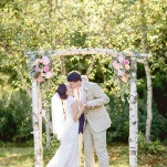 A Gorgeous Birch and Floral Ceremony Arbor | J. Harper Photography | Elegant Farm Wedding in Pastels and Gold Glitter