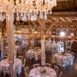 What's Better than a Glam Barn Wedding With a Chandelier? | J. Harper Photography | Elegant Farm Wedding in Pastels and Gold Glitter