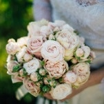 Lace Wedding Dress and Bush Rose Bouquet | Lelia Scarfiotti Photography | Enchanting Italian Destination Wedding at a Tuscan Villa!
