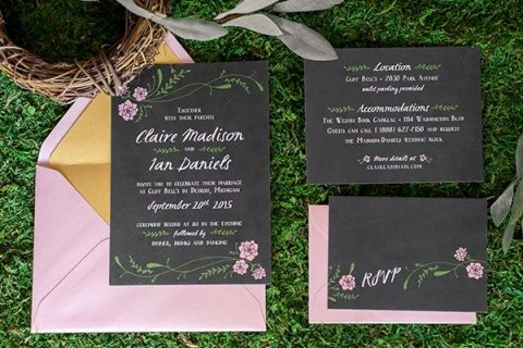 Floral and Chalkboard Wedding Invitation | Emily Chappell Photography | Bohemian Garden Wedding with Inspired by Fine Art