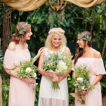 Sweet Moment with the Bride and Bridesmaids | Emily Chappell Photography | Bohemian Garden Wedding Inspired by Fine Art