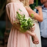 Fresh Green and White Bridesmaid Bouquet | Emily Chappell Photography | Bohemian Garden Wedding Inspired by Fine Art