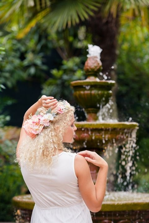 Romantic Hidden Garden Wedding with a Blush Floral Crown | Emily Chappell Photography | Bohemian Garden Wedding Inspired by Fine Art